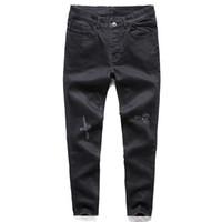 Jeans s en détresse nouveaux trous déchirés pantalons style coréen influx noir pantalon décontracté cool stretch homme pantalon printemps et en été