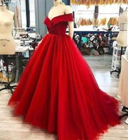 Red Off Shoulder Cheap Prom Dresses 2019 A Line Plus Size Lo...