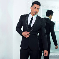 Fashion Black Beaded Wedding Tuxedos Slim Fit Suits For Men ...