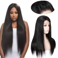Virgin Human Hair U Part Lace Front Wig Peruvian Straight Wi...