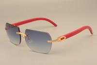 bois massif pour hommes et femmes C8100906 rouge temples lunettes de soleil décoratif cadre en bois lunettes de soleil toutes les tailles de lunettes de soleil naturel: 56-18-135mm
