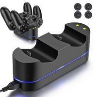 5V PS4 LED Indicateur Dual USB Controller Station de recharge rapide Dock Charger 4 Capsules Thumbstick pour Playstation 4 PS4