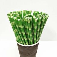 19.7cm Cannucce di carta di bambù Cannucce ecologiche biodegradabili monouso Per decorazioni per feste di compleanno di bar