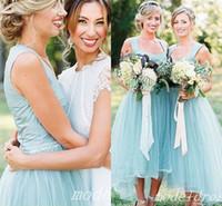 Sage High низкие платья подружки невесты 2018 спагетти простые Hi-lo Country Garden Beach свадебные гостевые платья плюс размер горничной чести платье дешево