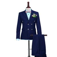 Donanma Mavi Erkekler Düğün Için Suits Çift Göğüslü Custom Made Groomsmen Takım Elbise Saksı Yaka En Iyi Adam Blazers 2 Parça Ceket Pantolon Parti