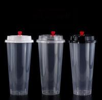 700ml 24 온스 일회용 플라스틱 컵 차가운 뜨거운 음료 주스 커피 밀크 티 컵 Thrid 투명 음료 도구 뚜껑 SN1755