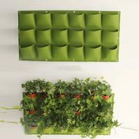 18 포켓 화분 재배자 벽걸이 세로 쓰기 뜰을 만드는 식물 장식 녹색 필드 성장 컨테이너 가방 야외