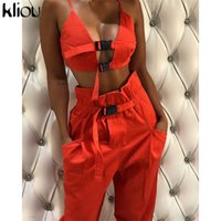 Kliou sexy crop top strap button fly women two pieces sets 2...