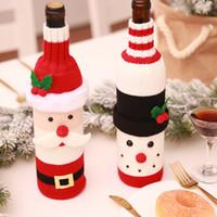 Weihnachten Weinflasche Cover Tasche Weihnachtsmann Schneemann Gestrickte Pullover Flaschen Abdeckung Neujahr Dekor Home Bar Tisch Party Supplies