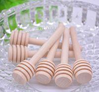 colher Mini madeira Mel Vara de Mel Festa Madeira Abastecimento para Honey Jar punho longo mistura Vara LX3315