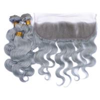 8A neue graue Haarwebart mit 13x4 Ohr zu Ohr Spitze Frontal Schließung Splitter grau Körperwelle reines Menschenhaar Bundles