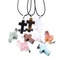 Природные друзы Drusy Кристалл Камень кулон ожерелье точка чакра исцеление крест ожерелье для женщин ювелирные изделия