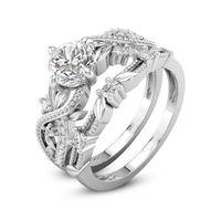 Yeni Kadın Moda takı İstek Sıcak Satış Toptan 925 Ayar Gümüş Yuvarlak Kesim Beyaz Topaz Popüler CZ Elmas Düğün Gelin Yüzük Seti Hediye