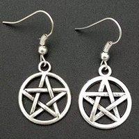 Moda Takı 50pair / Lot Antik Gümüş Pentagram Pentagramı Charm Kolye Dökümlülük Küpe Cadı Pagan Goth Takı Hediye A45
