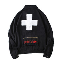 Mens Streetwear Ripped Cross Letter Pirnt Denim Jackets Coat...