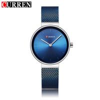 Curren relógio das mulheres relógios de quartzo das senhoras de luxo feminino vestido relógios de pulso de malha fina de aço inoxidável pulseira relogio feminino 9016