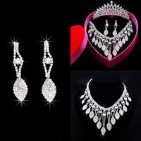 Accessori da sposa da sposa Retrò Designer vintage Designer Bridal Crystal Crown Corona Tiara orecchini collana set di gioielli set tre pezzi set per la sposa
