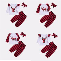 Xmas Baby girls boys outfits children Plaid Christmas deer e...