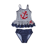 UPF 50+ Kids Navy Swimsuit Girl Sequins Anchor Striped Dot P...