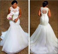 우아한 인 어 공주 웨딩 드레스 얇은 목 아플리케 레이스 얇은 명주 그물 크기 드레스 웨딩 드레스 저렴한 신부 드레스 환상 뒤로