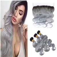 Ombre Silber Grau Virgin Peruanisches Menschliches Haar Bundles mit Spitze Frontal Körperwelle Dunkle Wurzel 1B / Grau Ombre 13x4 Full Lace Frontal Schließung