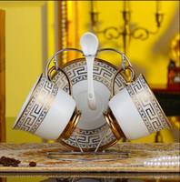 Set de té de cerámica 7 pcs de lujo Juego de té de cerámica europeo Juego de café de porcelana Cafetera Jarra de café Juego de platillos