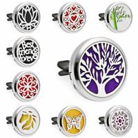 Hayat ağacı Lotus Çiçek Kalp Kelebek 30mm Mıknatıs Uçucu Yağ Aromaterapi Araba Difüzör Madalyon Parfüm Locket Vent Klip 10 adet Pedleri