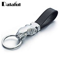Metal Leopard Head Leather Key Chains Rings Holder For Car K...