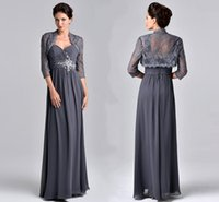 Stunning Grey Chiffon Mother' s Dresses Beaded Applique ...