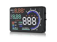 """Popüler evrensel araba HUD ekran güvenli sürüş head up display 5.5 """"OBD2 arayüzü MPH KM / h aşırı hız alarmı yakıt tüketimi su sıc ..."""
