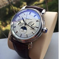 Brown Leather Fashion Mechanical Mens Stainless Steel Mens d...
