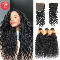 Brazilian Water Wave 3 Bundles with Closure Unprocessed Virg...