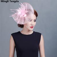 Sombreros de novia Mujeres Gran flor Pluma Sombrero de boda Forma especial Casco Sombreros de boda y Fascinadores para mujeres Fiesta Mingli Tengda