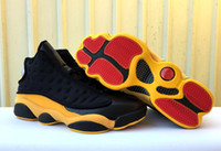 With box 13 XIII Black Yellow low men basketball shoes sport...