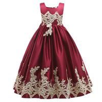 2019 Bourgondië kant bloem meisje jurken mooie kleding met grote boog tutu baljurken in voorraad goedkoop voor leeftijd 3 ~ 13