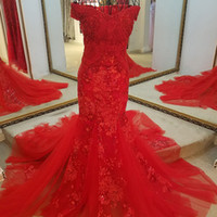 High Quality Red Evening Gown Sweetheart Tulle Lace Up Back ...