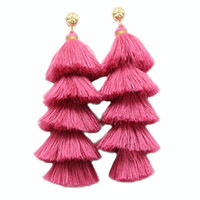 Long Tassel Earrings For Women Statement Jewelry 5 Layered F...