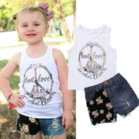 Summer Kids Girl Clothes Flower White Vest Jeans Shorts 2Pcs...