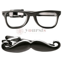 Yoursfs Mustache Glasses Tie Clip Bar Set Funny Stainless St...