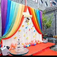 3m*6m rainbow wedding backdrop with swags backcloth Party Cu...