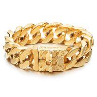 Neue Ankunft Mens große Edelstahl Panzerkette Armband mit Fleur De Lis und Schädel Edelstahl Armband poliert