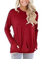 O pescoço da mulher Autumn Blusas 2020 Primavera Mulheres mangas compridas soltas T-shirt Tamanho Grande Womens bolso Camiseta Roupa mulheres mais Tops Tamanho