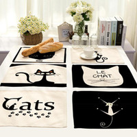 Cute Cat Table Cloth Placemat For Western Food Rectangle Lin...