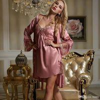 d2318ad979 All ingrosso-XIFENNI donne di marca accappatoi imitazione set di abiti di  seta pigiama