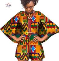 2018 Bazin 아프리카 왁스 인쇄 대시 Jumpsuit 플러스 크기 6xl Romper 점프 슈트 망토 Playsuit 여성 의류 WY393