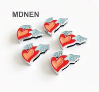 Accesorio 20pcs aleación de zinc de 8 mm de diámetro interno. 14 * 17 MM Wing Heart Slide Charms Beads DIY 8 MM Collar del gato del perro pulsera