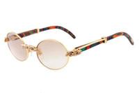 2018 جديد الرجعية الأزياء جولة الماس نظارات شمس 7550178 الطاووس الطبيعي النظارات الشمسية الفاخرة لون الخشب الفاخر نظارات حجم: 55 / 57-22-135mm