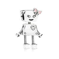 2018 Estate New Authentic 925 Sterling Silver Bella Bot fascino, rosa smalto perline Charm Fit Pandora Charms Bracciale creazione di gioielli