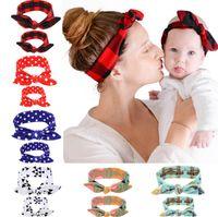 2PC / Set Mamma Baby Rabbit Ears Ornamenti per capelli Tie Bow Fascia per capelli Fascia per capelli Elasticizzato Nodo Fiocco Fasce per capelli Accessori per capelli