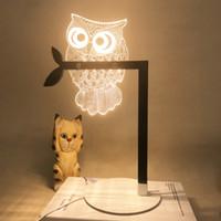 3D visual búho estéreo lámpara de escritorio acrílico LED luz de noche lámpara ajustable regalo de San Valentín